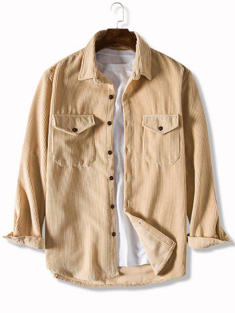 latest Pure Color Front Pockets Corduroy Casual Shirt - TAN BROWN 3XL Mobile