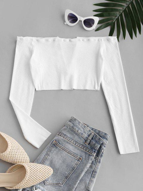 new V Wired Exposed Shoulder Beach Crop Top - WHITE L Mobile