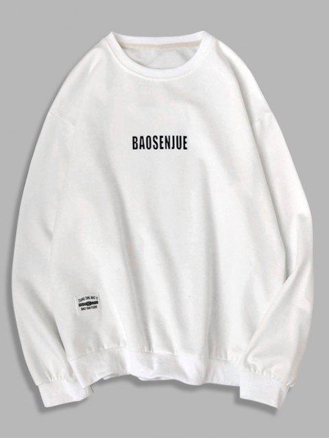 Sweat-shirt Applique Lettre Imprimée à Col Rond - Blanc XL Mobile