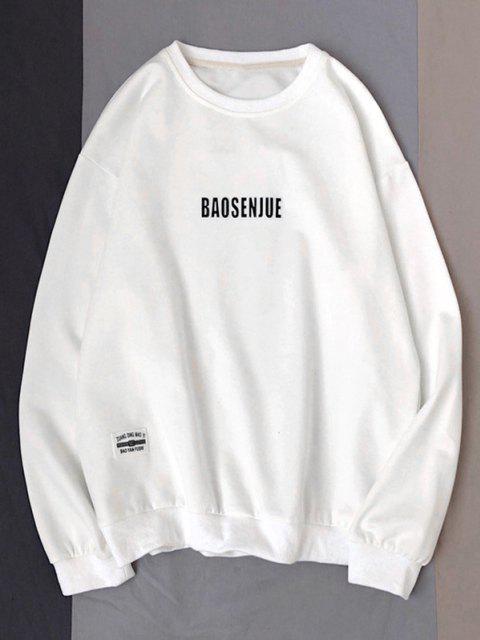 Sweatshirt mit Buchstabendruck und Rundhalsausschnitt - Weiß XL Mobile