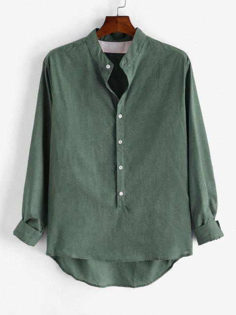 women Solid Long Sleeve Button Down Shirt - LIGHT GREEN 3XL Mobile