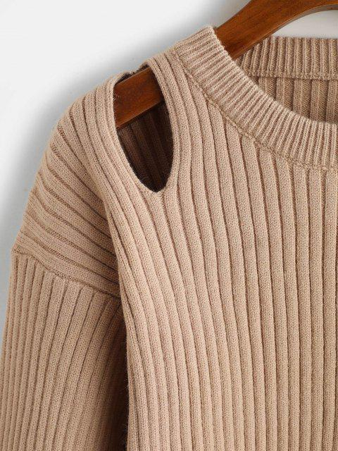 ladies Crew Neck Cut Out High Low Slit Sweater - LIGHT COFFEE ONE SIZE Mobile