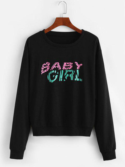 Graphic Baby Girl Sweatshirt - الجرافيت الأسود L Mobile