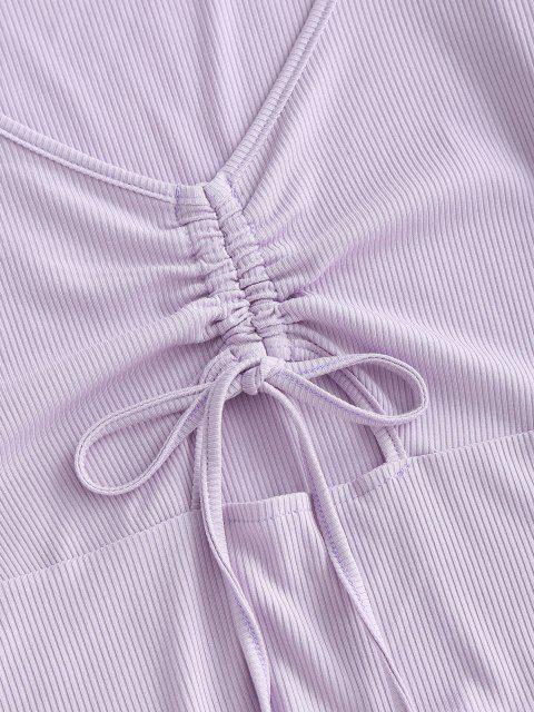 T-shirt Côtelé Découpé en Avant avec Laces - Mauve S Mobile