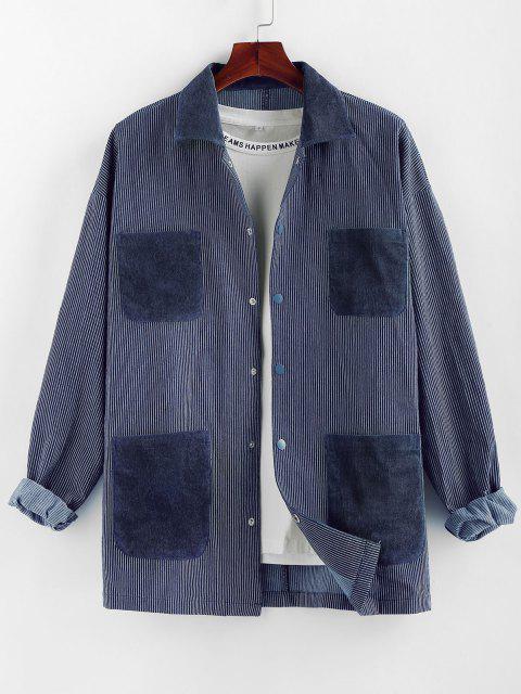 outfit ZAFUL Colorblock Pocket Patch Pinstripe Shirt Jacket - MULTI M Mobile