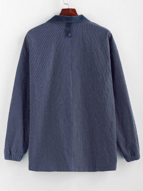 shops ZAFUL Colorblock Pocket Patch Pinstripe Shirt Jacket - MULTI 2XL Mobile