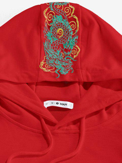 women's ZAFUL Kangaroo Pocket Dragon Embroidered Oriental Hoodie - RED M Mobile