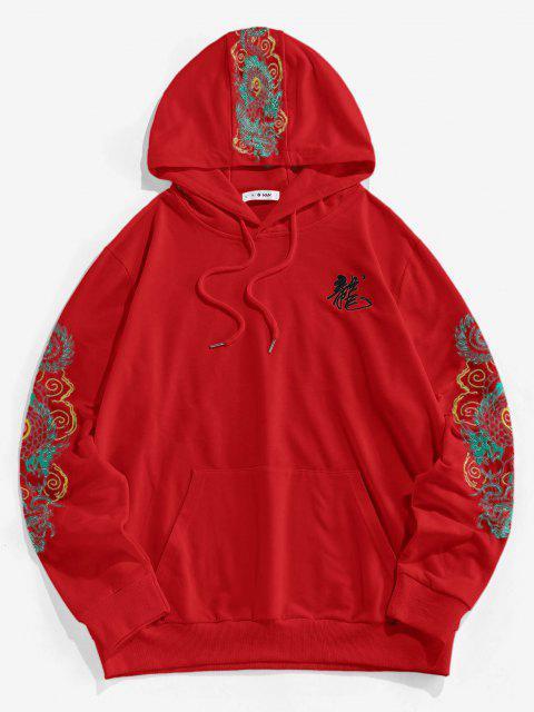 lady ZAFUL Kangaroo Pocket Dragon Embroidered Oriental Hoodie - RED XL Mobile