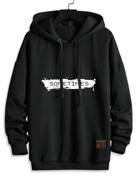 new Drawstring Fleece Lined SOMETIMES Graphic Hoodie - BLACK 2XL Mobile