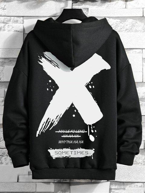 outfit Drawstring Fleece Lined SOMETIMES Graphic Hoodie - BLACK XL Mobile