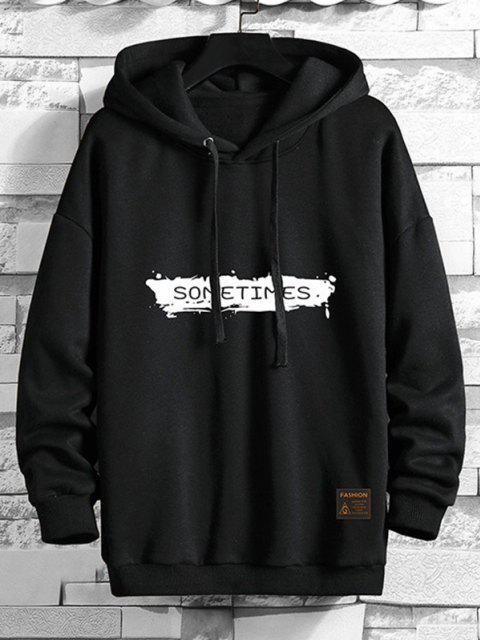 shop Drawstring Fleece Lined SOMETIMES Graphic Hoodie - BLACK 4XL Mobile