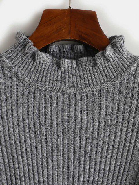 Maglione a Costine con Collo Alto - Grigio Chiaro Taglia unica Mobile