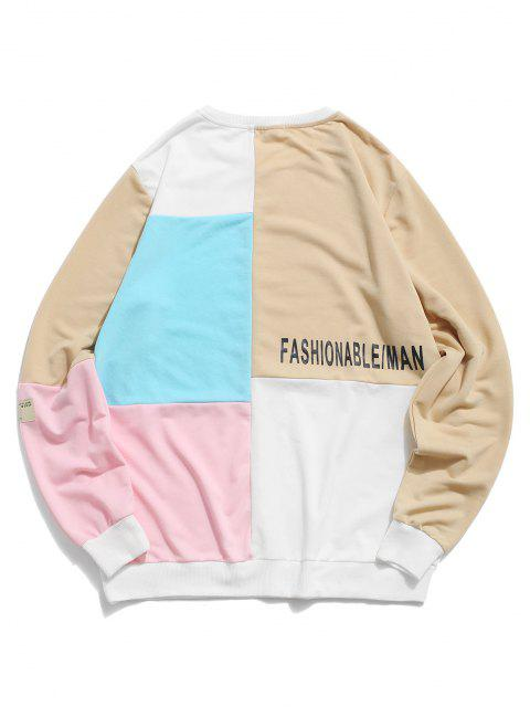 ZAFUL Farbblock Panel Buchstabedruck Sweatshirt - Multi S Mobile