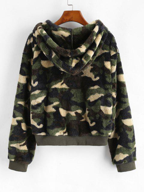 fashion Camouflage Zip Up Hooded Fluffy Jacket - DEEP GREEN S Mobile