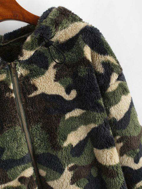 Chaqueta con Cremallera con Capucha Camuflaje Mullido - Verde Oscuro M Mobile