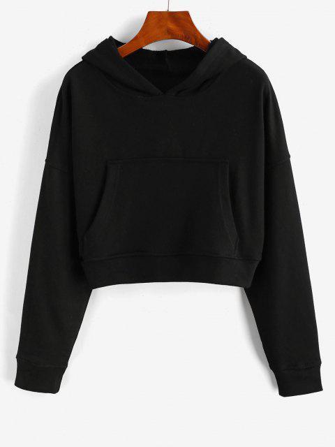 new Drop Shoulder Pullover Basic Hoodie - BLACK L Mobile