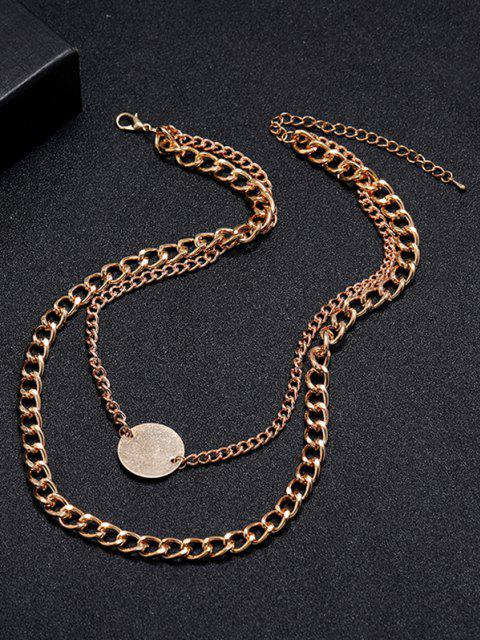 trendy Curb Chain Disc Layered Necklace - GOLDEN  Mobile