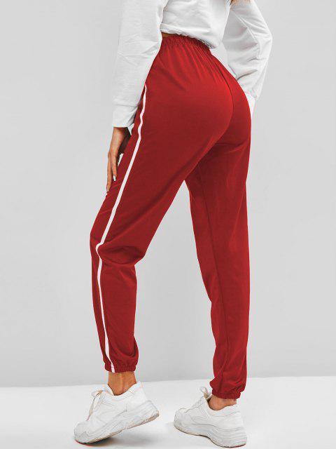 women Contrast Side Tie Detail Jogger Pants - DEEP RED M Mobile