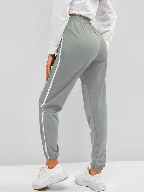 ladies Contrast Side Tie Detail Jogger Pants - DARK GRAY M Mobile