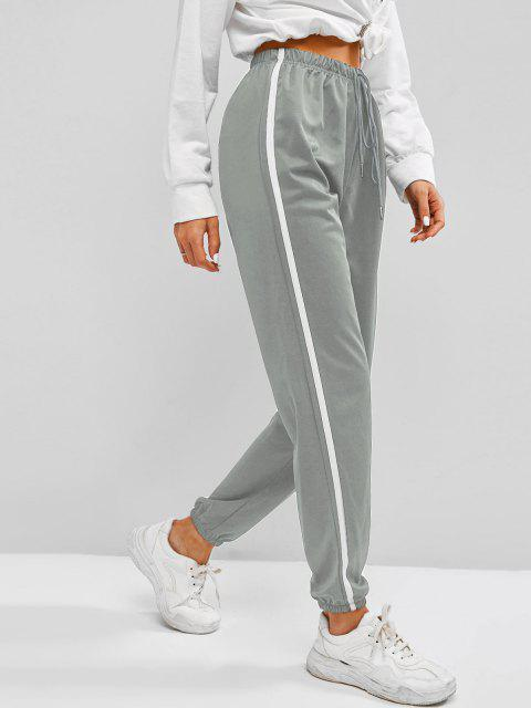 fancy Contrast Side Tie Detail Jogger Pants - DARK GRAY L Mobile
