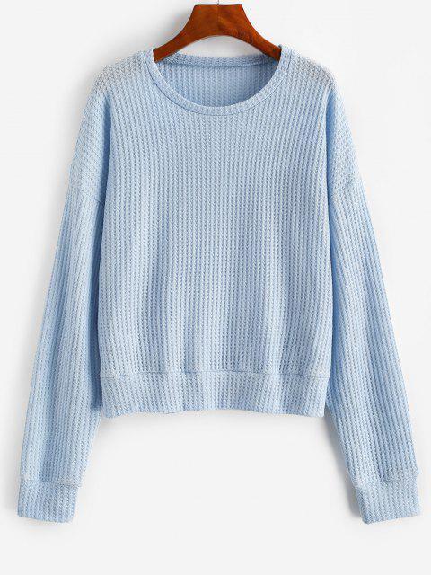 women's Drop Shoulder Plain Knitted Sweatshirt - LIGHT BLUE M Mobile