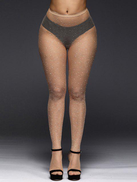 women's Rhinestone Sexy Hollow Fishnet Tights - TAN  Mobile