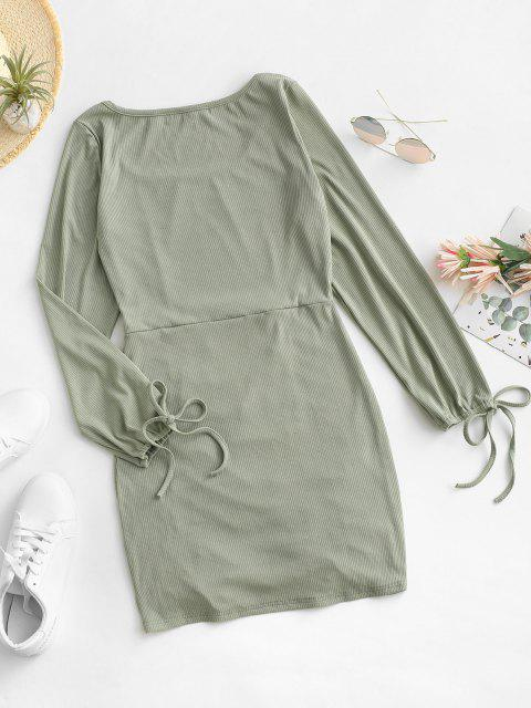 ladies Tie Sleeve Ribbed Cinched Mini Dress - LIGHT GREEN S Mobile
