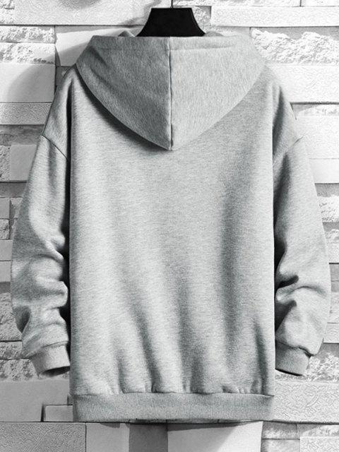 trendy Have A God Like Day Graphic Fleece Lined Hoodie - LIGHT GRAY L Mobile