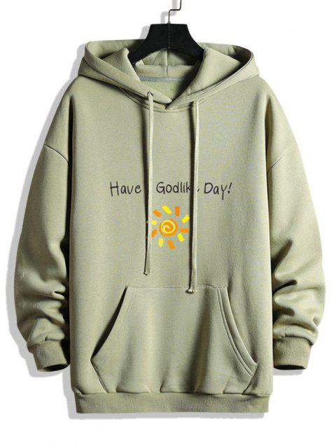 chic Have A God Like Day Graphic Fleece Lined Hoodie - DARK SEA GREEN M Mobile