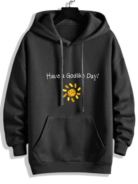 shop Have A God Like Day Graphic Fleece Lined Hoodie - BLACK M Mobile