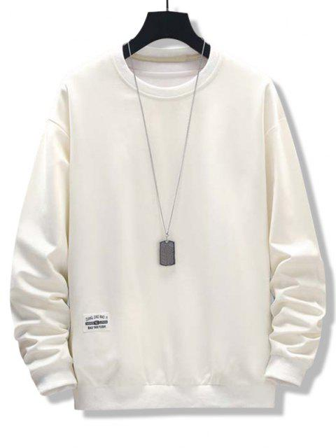 womens Letter Patched Ribbed Trim Sweatshirt - WHITE XS Mobile