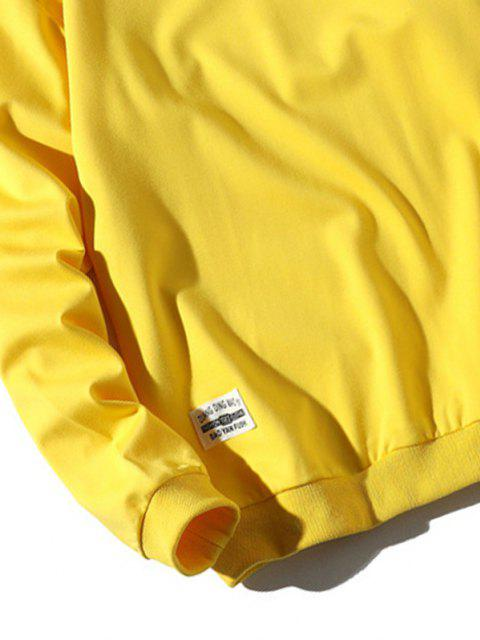 shop Letter Patched Ribbed Trim Sweatshirt - BRIGHT YELLOW XL Mobile