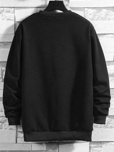 women's Letter Patched Ribbed Trim Sweatshirt - BLACK XS Mobile