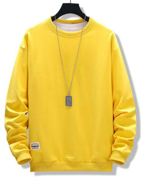 ladies Letter Patched Ribbed Trim Sweatshirt - BRIGHT YELLOW L Mobile