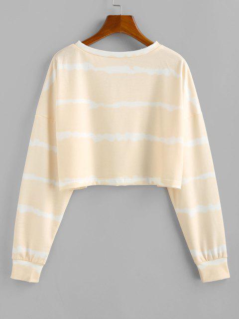 ZAFUL Butterfly Print Tie Tye Cropped Sweatshirt - القهوة الخفيفة M Mobile