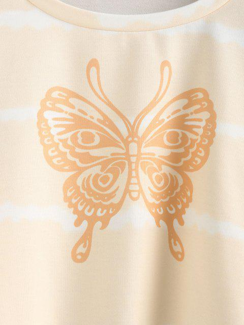 chic ZAFUL Butterfly Print Tie Tye Cropped Sweatshirt - LIGHT COFFEE L Mobile