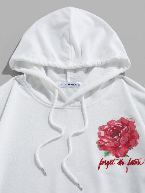 women ZAFUL Flower Letters Print Kangaroo Pocket Hoodie - WHITE S Mobile