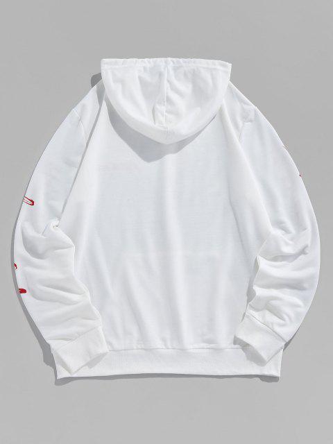 ladies ZAFUL Flower Letters Print Kangaroo Pocket Hoodie - WHITE L Mobile