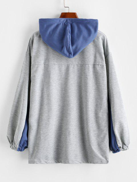 affordable Letter Star Embroidered Pocket Button Placket Hoodie - BLUE ONE SIZE Mobile