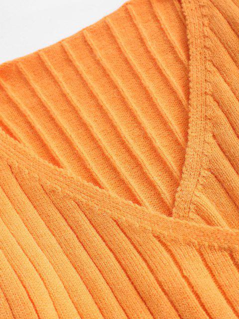 Gerippte Surplice Schlank Strickpullover - Orange Eine Größe Mobile