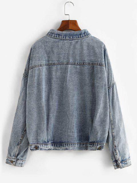 women Button Up Oversized Pockets Denim Jacket - LIGHT BLUE L Mobile