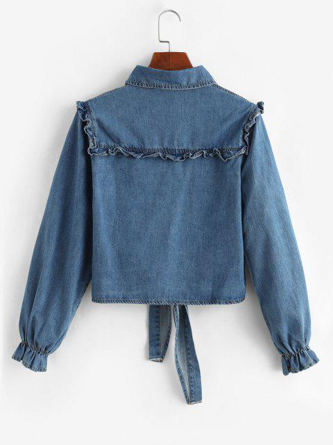 new Tie Front Frilled Button Up Denim Jacket - LIGHT BLUE XL Mobile