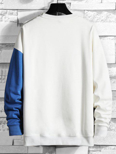 Zwei Ton-Crew Neck Sweatshirt - Blaubeere L Mobile
