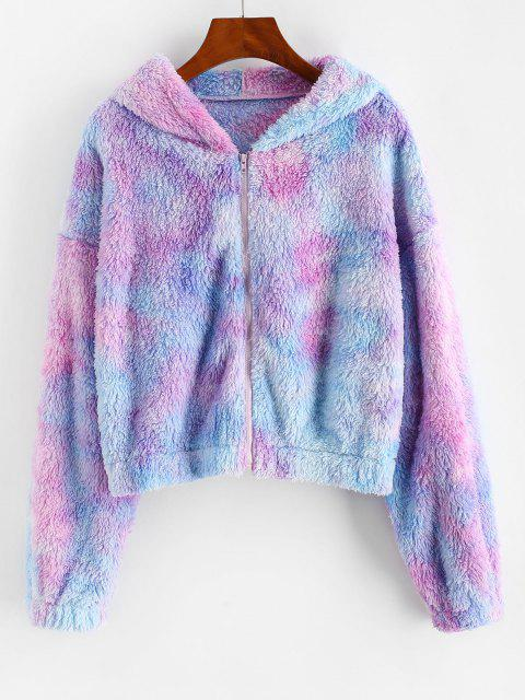 ZAFUL Full Zip Tie Dye Fluffy Coat - خبازي M Mobile