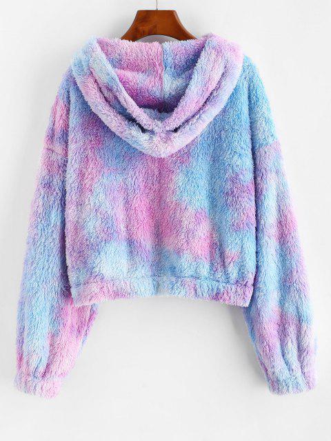 ZAFUL Abrigo Mullido de Tie-dye con Cremallera Completa - Color de malva M Mobile