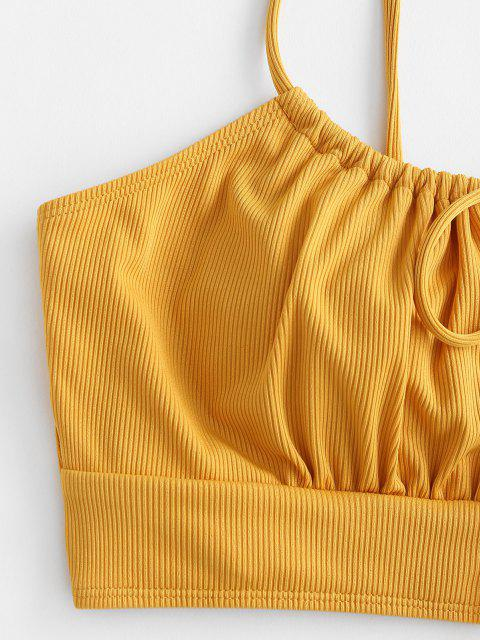 outfit ZAFUL Plus Size Ribbed Tie Front Bikini Top - DEEP YELLOW XL Mobile