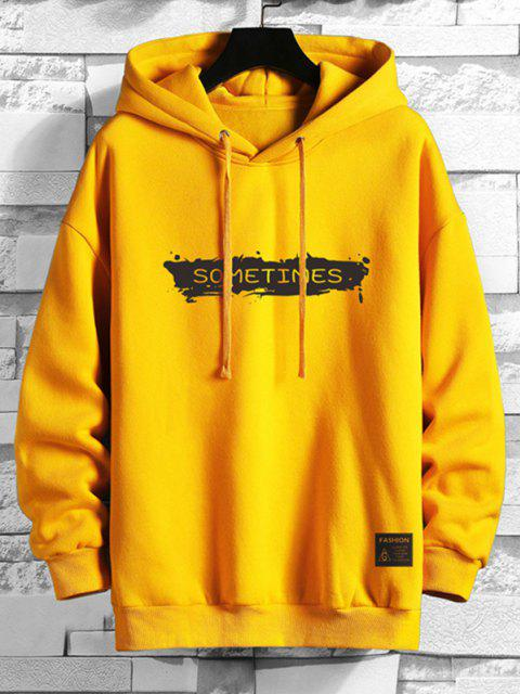 women Drawstring Fleece Lined SOMETIMES Graphic Hoodie - BRIGHT YELLOW 2XL Mobile