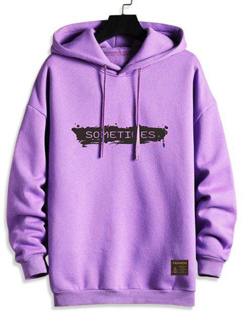online Drawstring Fleece Lined SOMETIMES Graphic Hoodie - PURPLE 2XL Mobile