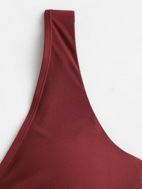 ZAFUL Biquíni Top de Biquíni com Nervuras de Tamanho Grande - Vermelho escuro XXL Mobile