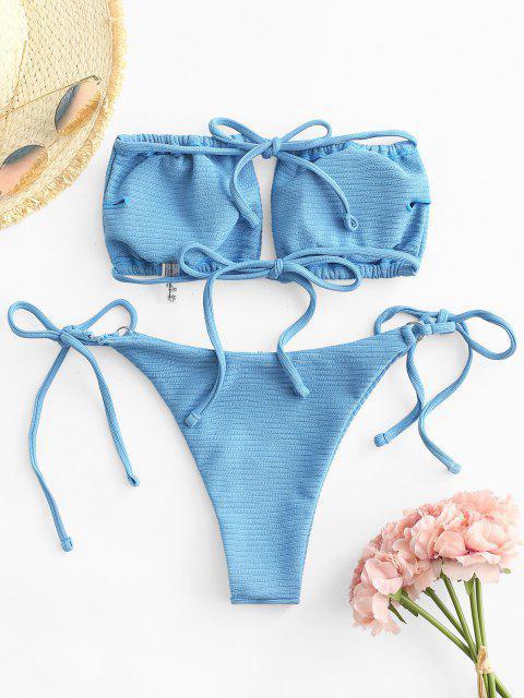 ZAFUL Gerippter O Ring Tanga Bikini Badebekleidung - Blau S Mobile